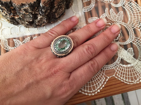 Vintage ring-vintage aquamarine ring-vintage silv… - image 4