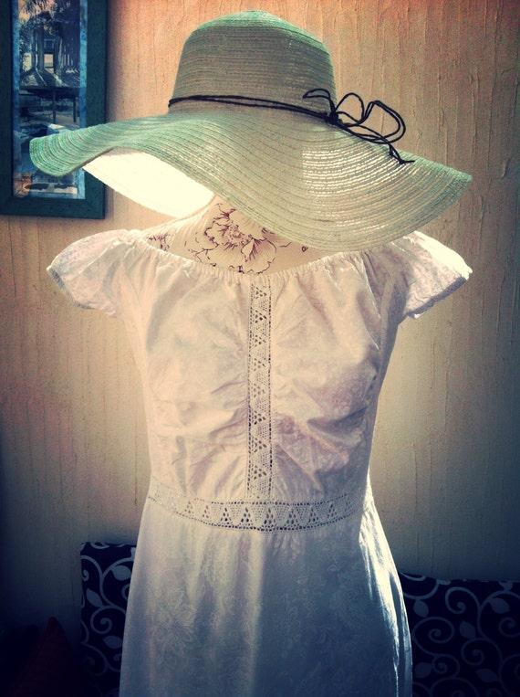 Vintage white maxi dress-vintage boho long dress-w