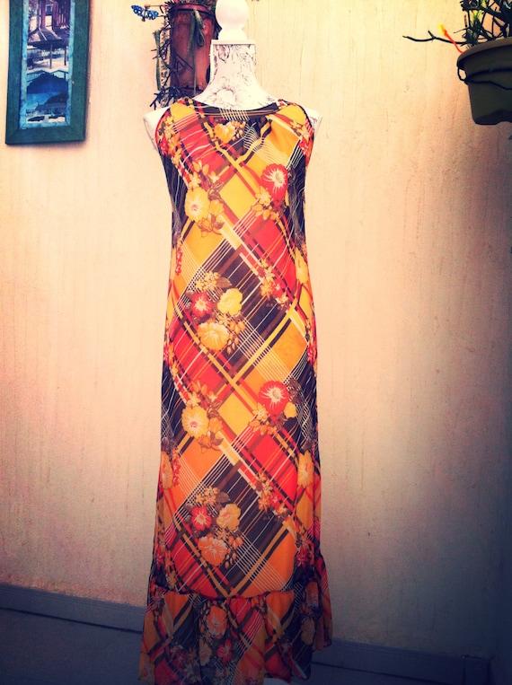 Vintage long dress - vintage maxi dress -boho long