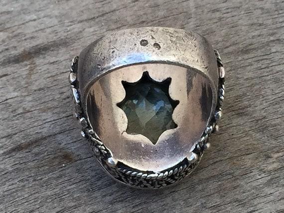 Vintage ring-vintage aquamarine ring-vintage silv… - image 7