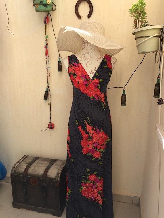 Vintage dress-vintage retro-vintage long dress-70s