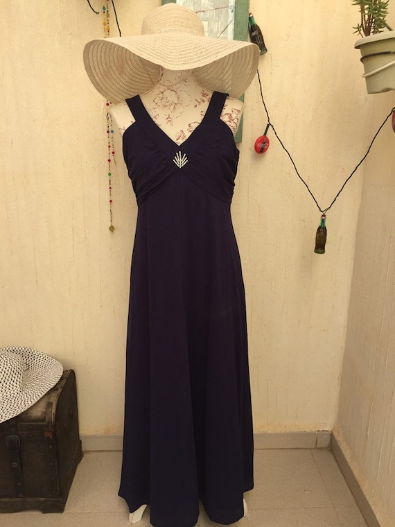 Vintage blue dress-vintage long dress-vintage par… - image 1