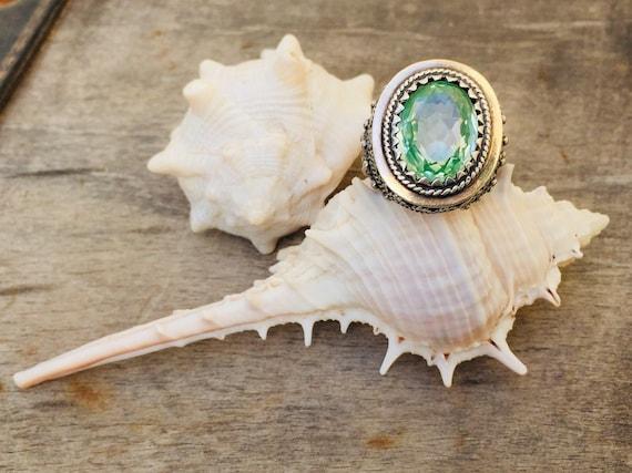 Vintage ring-vintage aquamarine ring-vintage silv… - image 6