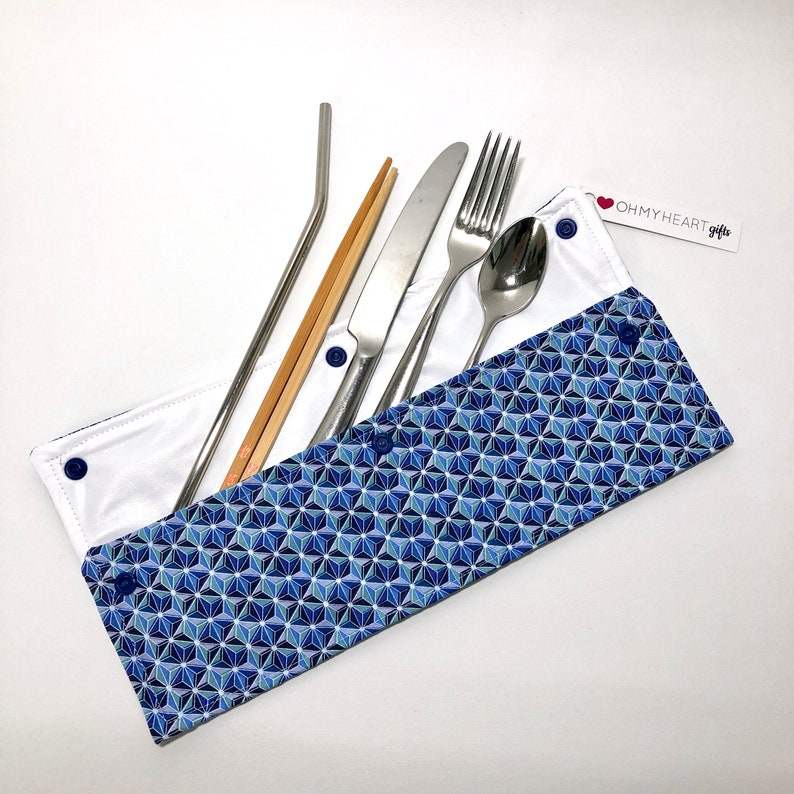 Zero Waste Oh My Heart Large Reusable Utensil Holder Bag In blue and teal geometric