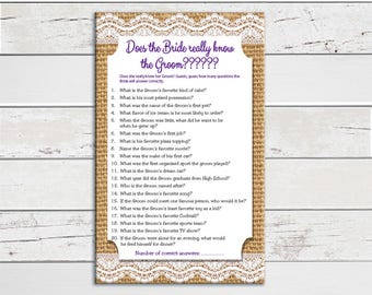 Does the Bride know the Groom, Bridal Shower Game, Wedding Shower Game, Engagement Party, Couples Shower Game, D991