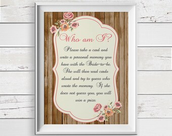 Who am I Bridal Shower Game, Memories of the Bride, Bachelorette Shower Game, D1215