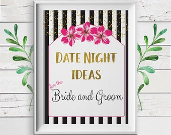 Advice for Date Night, Bridal Shower Game, Date Night Advice Bridal Shower Game, D1114