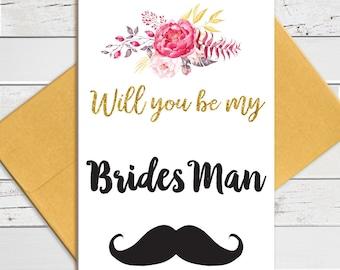 Will You be My BridesMan With Mustache, BridesMan Job Description Proposal, Printed Card, D1397