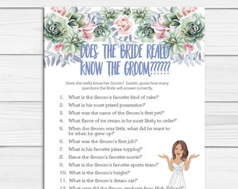 Does the Bride know the Groom Bridal Shower Game, Couples Shower Game, Wedding Shower Game, Succulent Flowers, D1263