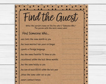 Find the Guest Bridal Shower Game, Find the Guest Game, Printable Find the Guest, Bridal Shower Games, Kraft Paper Game, D1687