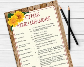 Famous Movie Love Quotes, Bridal Shower Game, Sunflower Movie Quotes Game, Rustic Shower Game, Wedding Shower Game, D1139