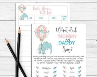 Baby Shower Games, What did Mommy and Daddy Say Baby Shower Game, Elephant Theme Baby Shower, D1847