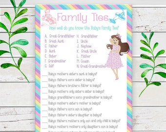 Family Ties Baby Shower Game, Gender Neutral Baby Shower Game, Pregnant Mom, Coed Baby Shower, Instant Download, D840