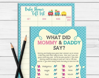 PRINTED Baby Shower Games, What did Mommy and Daddy Say Baby Shower Game, Gender Neutral Baby Shower, Train Theme Baby Shower, D578P