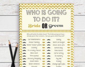 Who is going to do it Bridal Shower Game, Guess Who Game, Engagement Party Game, Couples Bridal Shower Game, D1827