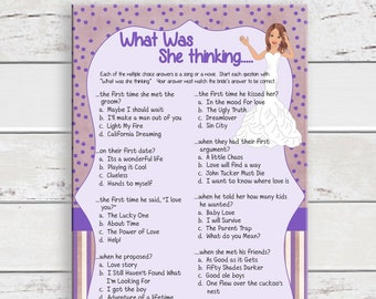 What was she Thinking Bridal Shower Game, Wedding Shower Game, Couples Shower Game, D826