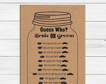 Kraft Paper Guess Who Wedding Shower Game / Bridal Shower Game / Couples Bridal Shower / Engagement Party Game / D1842