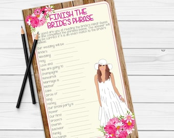 Bridal Shower Games, Finish the Bride's Phrase, Boho Bridal Shower Games, Rustic Bridal Shower Games, D1129