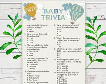 Baby Trivia Baby Shower Game, Gender Neutral, Balloon Shower Game, Coed Baby Shower Game, Baby Facts Shower Game, Instant Download. D1138