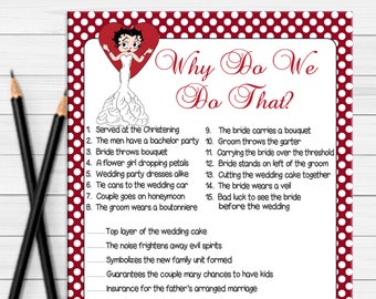 Bridal Shower Games Why do we do that / Betty Boop / Wedding Shower Game / Couples Shower Game / Engagement Party Game / D551