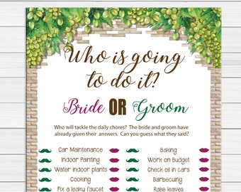Who is going to do It Bridal Shower Game, Wine Theme, Grapes Theme, Engagement Party Game, Floral Theme, Couples Shower Games, D1891