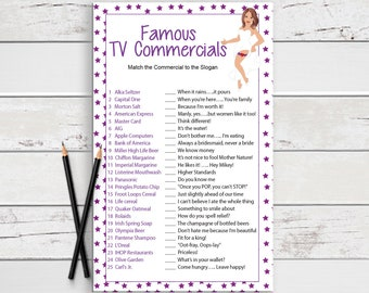Famous TV Commercials, Bridal Shower Game, Sexy Bride, Instant Download, Couples Shower Game