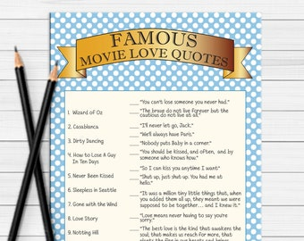 Movie Quotes Bridal Shower Game / Wedding Shower Game / Couples Shower Game / Engagement Party Game / D464