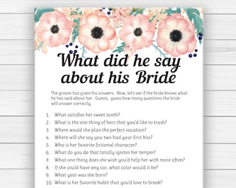 Editable What did he say about his Bride Wedding Shower Game .  Editable Bridal Shower Game . Peach Floral Couples Shower Game, D1832