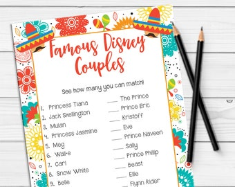 Disney Couples Bridal Shower Games, Fiesta Shower Game, Fiesta Couples Shower Game, Engagement Party Game, D1878