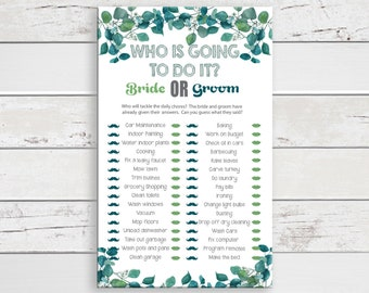 Who is Going to do it Bridal Shower Game, Wedding Shower Game, Instant Download, Couples Shower Game, D1811