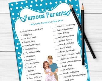 Famous Parents Baby Shower Games, Celebrity Baby Game, Baby Boy Shower Game, Coed Shower Game, D648