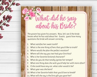 Editable What did he say about his Bride Wedding Shower Game .  Editable Bridal Shower Game . Pink Floral Couples Shower Game, D1676E