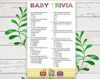 Baby Trivia Baby Shower Game, Train, Instant Download, Coed Baby Shower Game, D1272