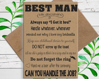 Will You be My Best Man on Kraft Paper, Funny Bridal Party Proposal, Printed Card, D1785