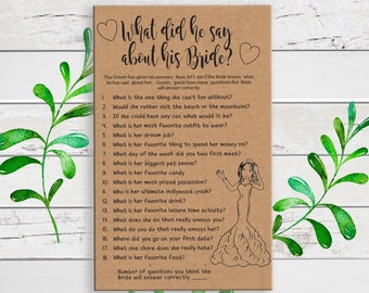 Kraft Paper What did he say about his Bride, Printable Wedding Shower Game,  D1687