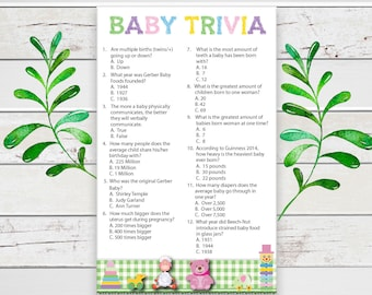 Baby Trivia Baby Shower Game, Gender Neutral, Coed Baby Shower Game, D1015