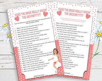 Does the Bride Know the Groom Bridal Shower Game, Printable Wedding Shower Game, D685