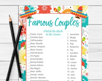 Famous Couples Bridal Shower Games, Fiesta Bridal Shower Game, Fiesta Wedding Shower Game,Fiesta Couples Shower Game, D1879
