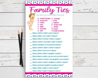 Family Ties Baby Shower Game, Baby Girl Shower, Coed Baby Shower, Printable, D1229