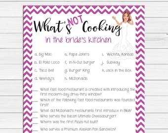 Kitchen Bridal Shower Game, What's Not Cooking in the Bride's Kitchen, Wedding Shower Game, Coed Shower Game, D495