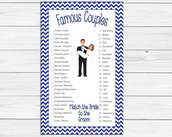Famous Couples Bridal Shower Game, Groom carrying Bride, Blue Chevron, Couples Shower Game, Instant Download, D1001