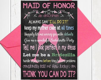 Will You be My Maid of Honor Card, Will You Be My Maid of Honor, Maid of Honor Job Card, Chalkboard Will you be my Maid of Honor Card, D261