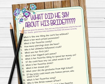 What did he say about his Bride Shower Game / Rustic Bridal Shower Game / Couples Bridal Shower Game / Engagement Party Game / D1889
