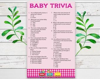 Baby Trivia Baby Shower Game, Pink Train Theme Shower Game, Coed Baby Shower Game, D866