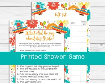 PRINTED What did he Say Bridal Shower Game, Printed Bridal Shower Games, Wedding Shower Game, Printed Couples Bridal Shower, D1675P