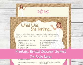 PRINTED Bridal Shower Games, What was she Thinking Bridal Shower Game, Burlap, Printed Wedding Shower Games, D809P