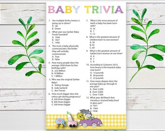 Baby Trivia Baby Shower Game, Gender Neutral Baby Shower Game, Yellow Baby Shower Game, Coed Baby Shower Game, Printable, D1790
