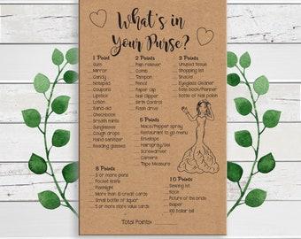 Purse Game Bridal Shower Game, Kraft Paper,  Confused Bride, D1821