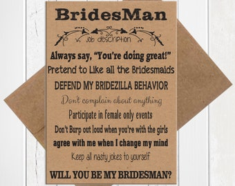 Will You be My Brides Man Card, Kraft Brides Man Card, Printed Card, D1400