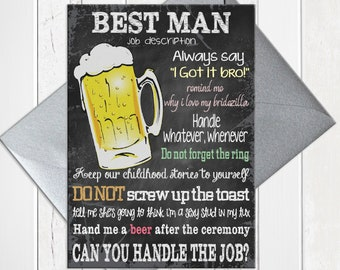 Will You be My Best Man Card, Chalkboard Funny Best Man Proposal Card, Printed Card, D211
